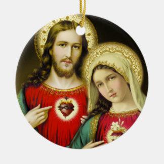 Coração imaculado sagrado Mary de Jesus Ornamento De Cerâmica Redondo