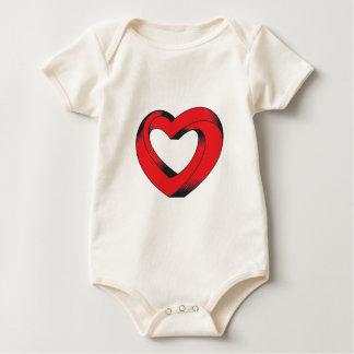 coração impossìvel torcido macacãozinho para bebês