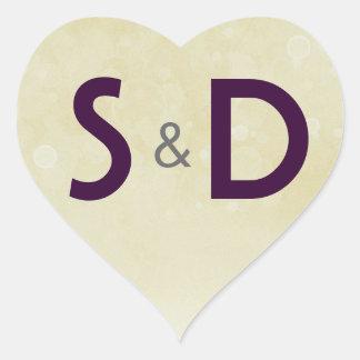 Coração inicial do casamento adesivo coração