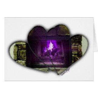 Coração & lareira cartão comemorativo