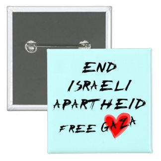 Coração livre Gaza do Apartheid israelita do fim Bóton Quadrado 5.08cm