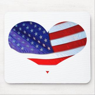 Coração Mousepad da bandeira americana