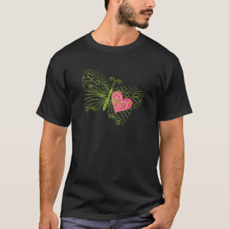 Coração nas asas da borboleta t-shirt