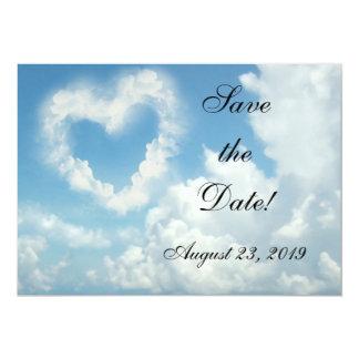 Coração nas nuvens, amor romântico do céu azul convite 12.7 x 17.78cm