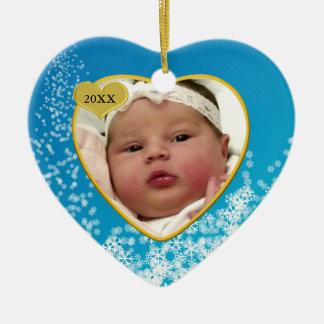 Coração nevado da foto do Natal de bebê de Ornamento De Cerâmica Coração