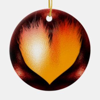 Coração no fogo! ornamento de cerâmica redondo