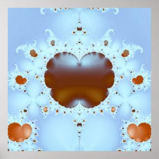Coração no poster do Fractal das nuvens 3D