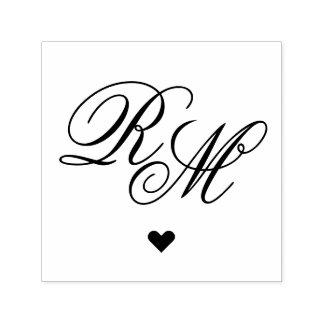 Coração ornamentado do monograma carimbo auto entintado