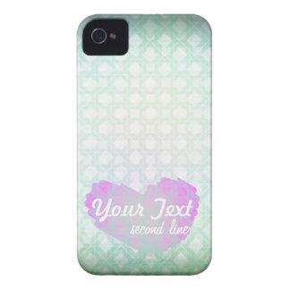 Coração pastel do rosa do teste padrão dos azul-cé capas de iPhone 4 Case-Mate