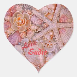 Coração Pastel etiqueta dada forma com escudos do
