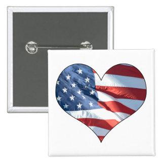 Coração patriótico bandeira americana dada forma bóton quadrado 5.08cm