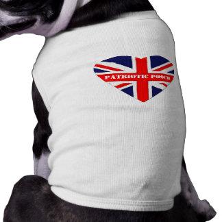 Coração patriótico britânico de Jack da Cão-União Camisa Sem Mangas Para Cachorro