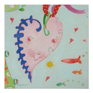 Coração pequeno feliz convite quadrado 13.35 x 13.35cm