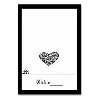 Coração preto de w/White Swirly - cartão da