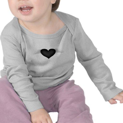 Coração preto camisetas