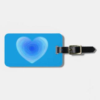 Coração profundo da água azul - amor no azul tag de bagagem