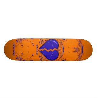 Coração quebrado/skate tribal (alaranjado & azul) shape de skate 18,1cm