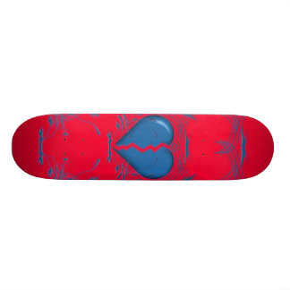 Coração quebrado/skate tribal (vermelho & azul) shape de skate 21,6cm