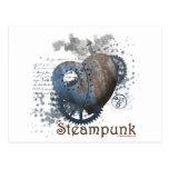 Coração rebitado amor de Steampunk Cartao Postal