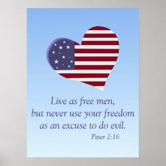 Coração referente à cultura norte-americana com poster