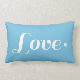 Coração retro azul do amor do Aqua Travesseiro De Decoração