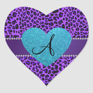 Coração roxo de turquesa do leopardo do monograma adesivos em forma de corações
