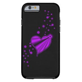 coração roxo do arco-íris com as estrelas no preto capa tough para iPhone 6