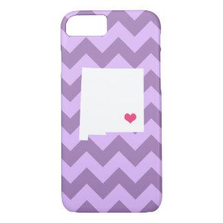 Coração roxo personalizado de Chevron New mexico Capa iPhone 8/7