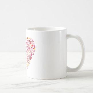 Coração social da rede caneca de café