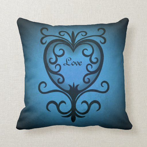 Coração swirly preto e azul romântico do amor travesseiro