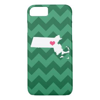 Coração verde personalizado de Chevron Capa iPhone 8/7