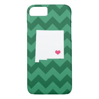 Coração verde personalizado de Chevron New mexico Capa iPhone 8/7