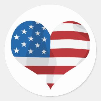 Coração vermelho, branco e azul patriótico adesivo