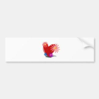 Coração vermelho com as flores nele adesivo para carro