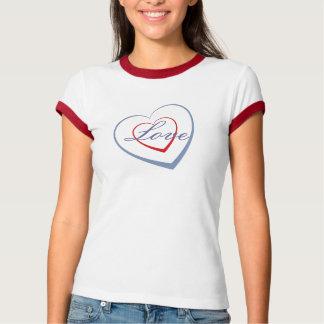 Coração vermelho, coração azul, com amor camiseta
