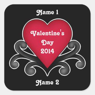 Coração vermelho do amor do dia dos namorados adesivo em forma quadrada