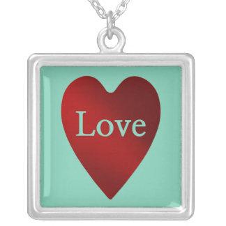 Coração vermelho do amor do dia dos namorados do colar banhado a prata