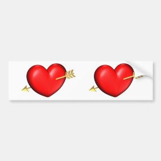 Coração vermelho e carnudo com seta dourada adesivo para carro