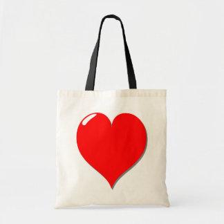 Coração vermelho no saco bolsa tote
