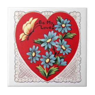 Coração vermelho retro romântico do amor do dia azulejo de cerâmica