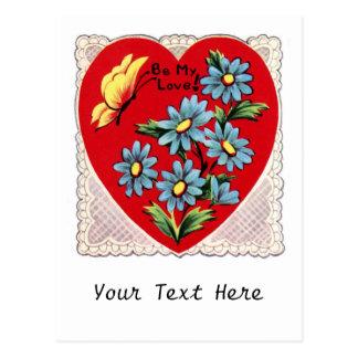 Coração vermelho retro romântico do amor do dia cartão postal