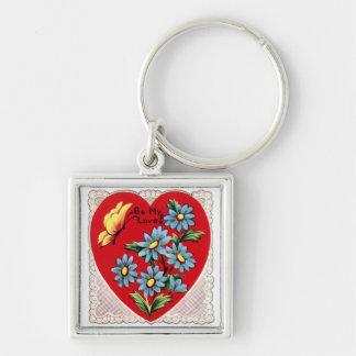 Coração vermelho retro romântico do amor do dia do chaveiro quadrado na cor prata