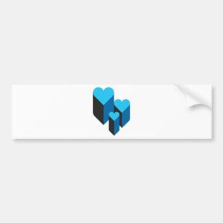 corações 3d adesivo para carro
