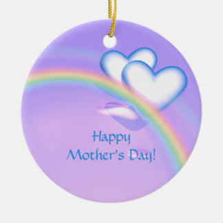 Corações altos do dia das mães ornamento de cerâmica redondo