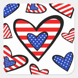 Corações americanos adesivo quadrado