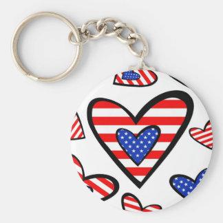 Corações americanos chaveiro