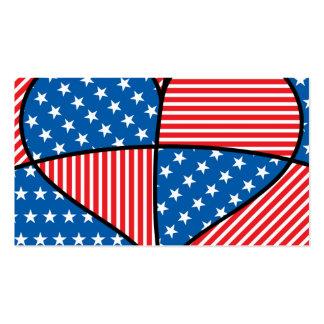 Corações americanos patrióticos cartão de visita