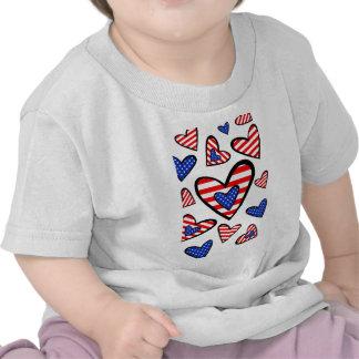 Corações americanos t-shirts