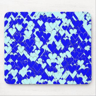 Corações azuis de flutuação mouse pad