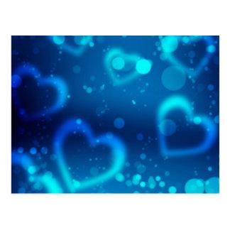 corações azuis do amor cartão postal